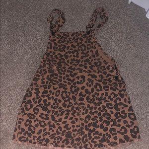 Cheetah jean overalls